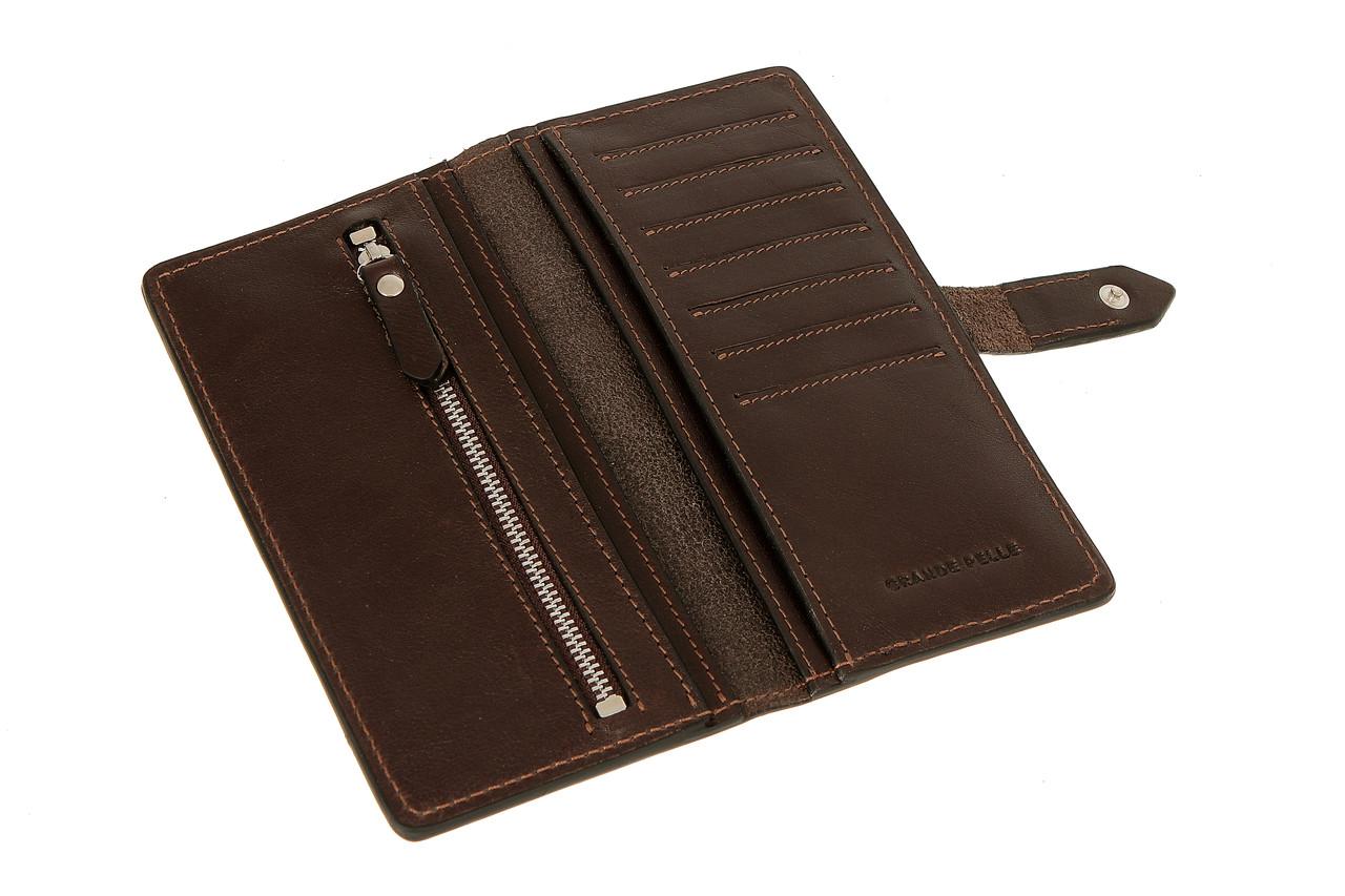 Кожаное мужское портмоне для денег, мужской кожаный кошелек шоколад Grande Pelle 524620