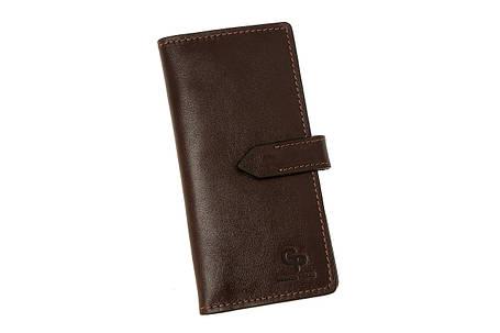Кожаное мужское портмоне для денег, мужской кожаный кошелек шоколад Grande Pelle 524620, фото 2
