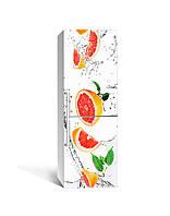 Виниловая 3Д наклейка на холодильник Грейпфруты ПВХ пленка самоклеющаяся цитрусы Фрукты Белый 650*2000 мм