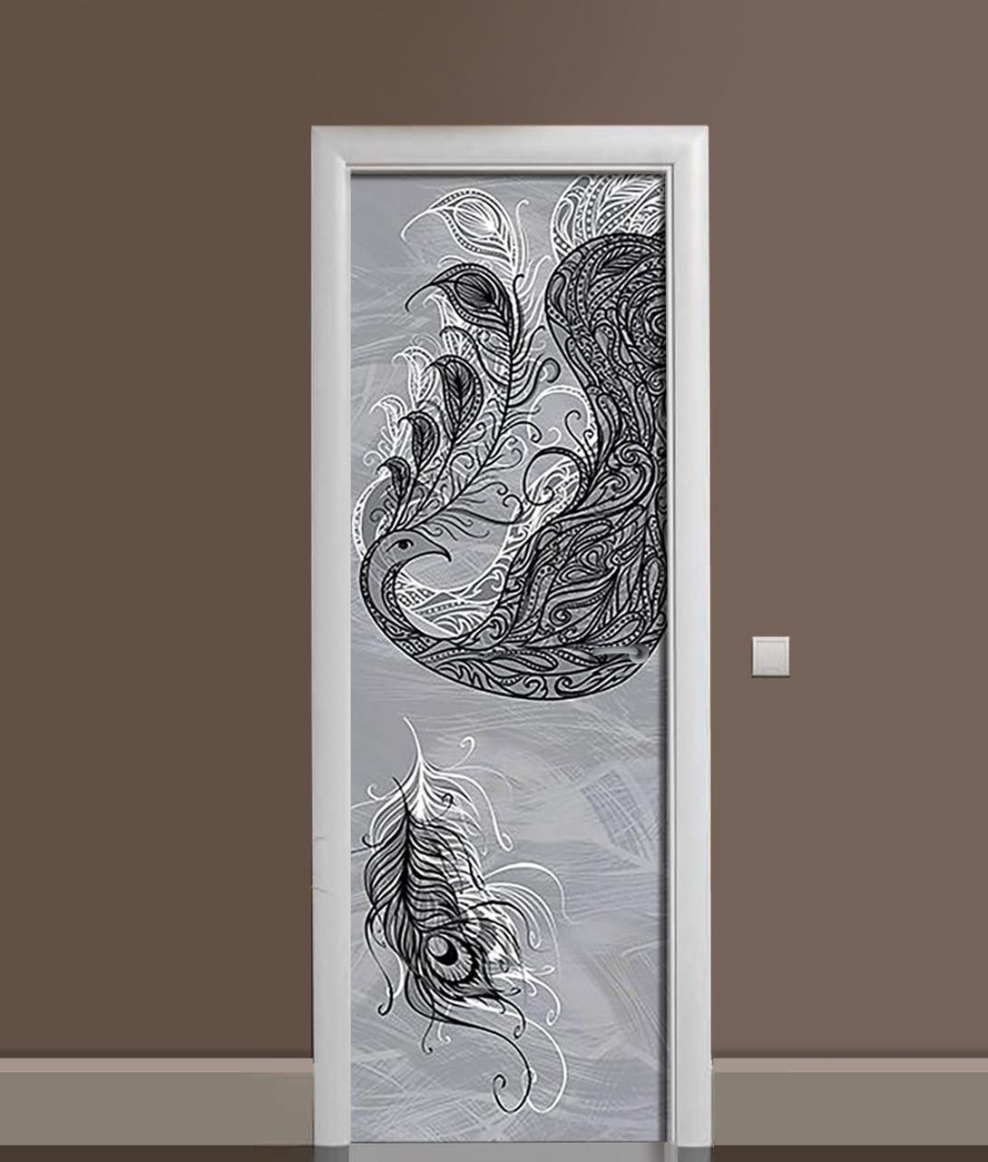 Вінілова 3Д наклейка на двері Перо Павлина ПВХ плівка пір'я Абстракція Сірий 650*2000 мм