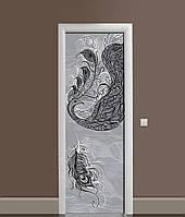 Вінілова 3Д наклейка на двері Перо Павлина ПВХ плівка пір'я Абстракція Сірий 650*2000 мм, фото 1