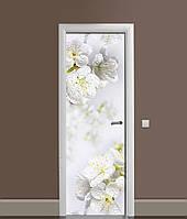 Вінілова 3Д наклейка на двері Білі Квіти Вишні (ПВХ плівка) роса краплі 650*2000 мм