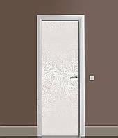 Вінілова 3Д наклейка на двері Ніжний Візерунок (ПВХ плівка) рослинний орнамент Сірий 650*2000 мм
