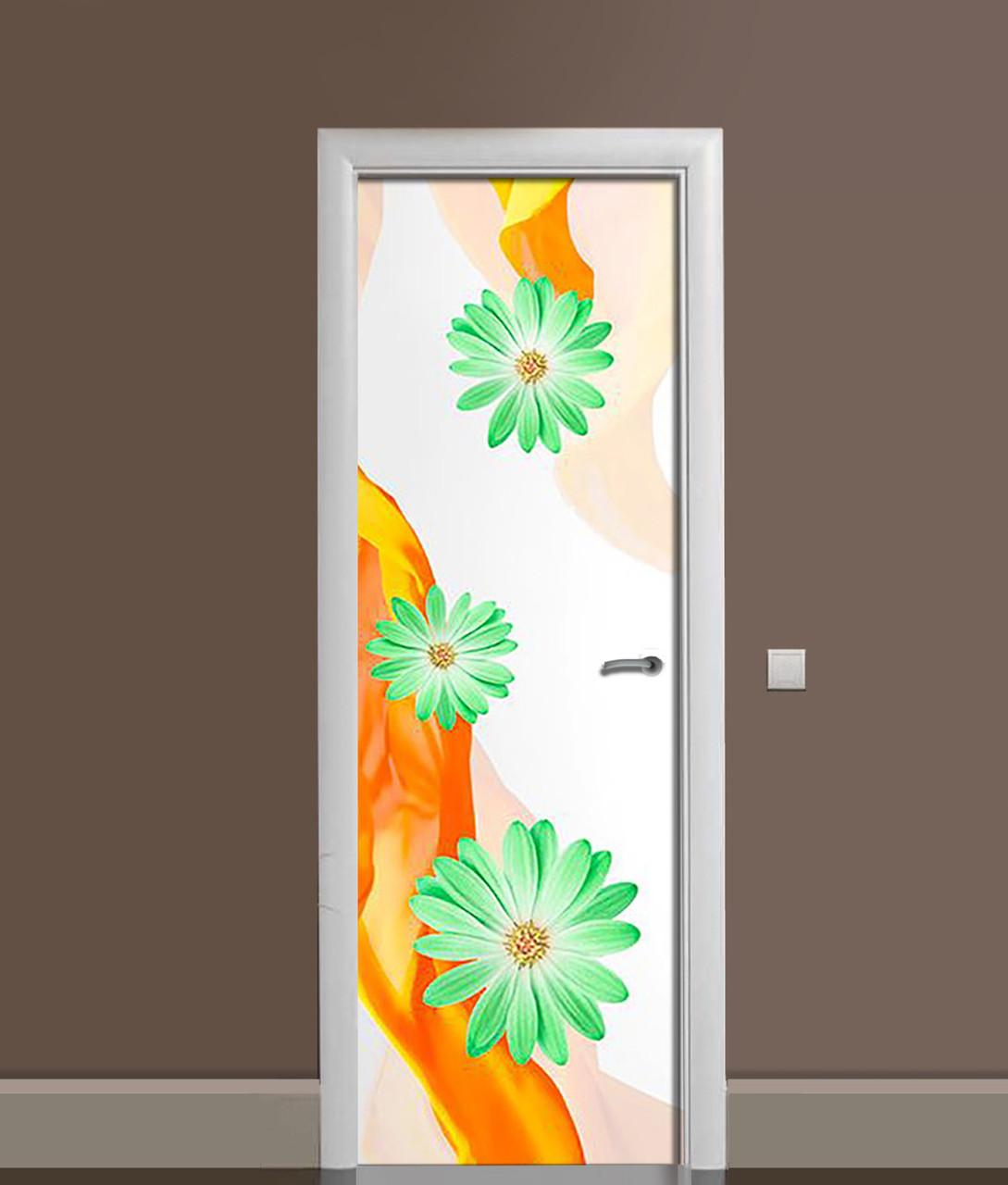 Виниловая 3Д наклейка на дверь Зеленые Цветы (ПВХ пленка) Шелк Оранжевый 650*2000 мм