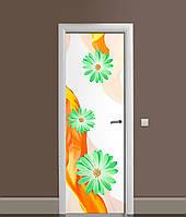Виниловая 3Д наклейка на дверь Зеленые Цветы (ПВХ пленка) Шелк Оранжевый 650*2000 мм, фото 1