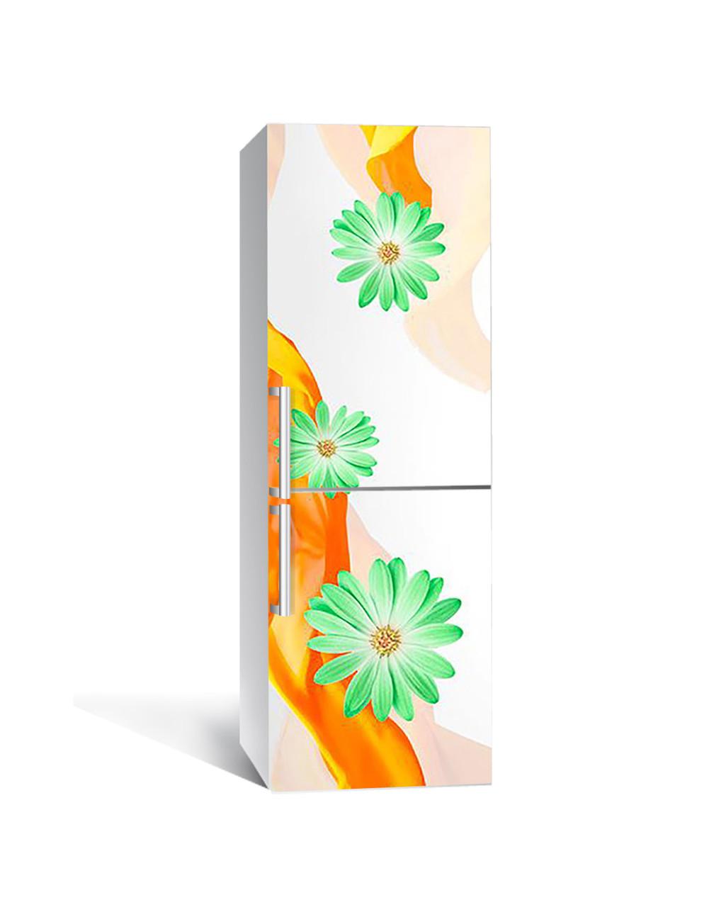 Виниловая 3Д наклейка на холодильник Зеленые Цветы (ПВХ пленка самоклеющаяся) Шелк Оранжевый 650*2000 мм