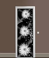 Вінілова 3Д наклейка на двері Жоржини Сфери ПВХ плівка квіти Абстракція Чорний 650*2000 мм