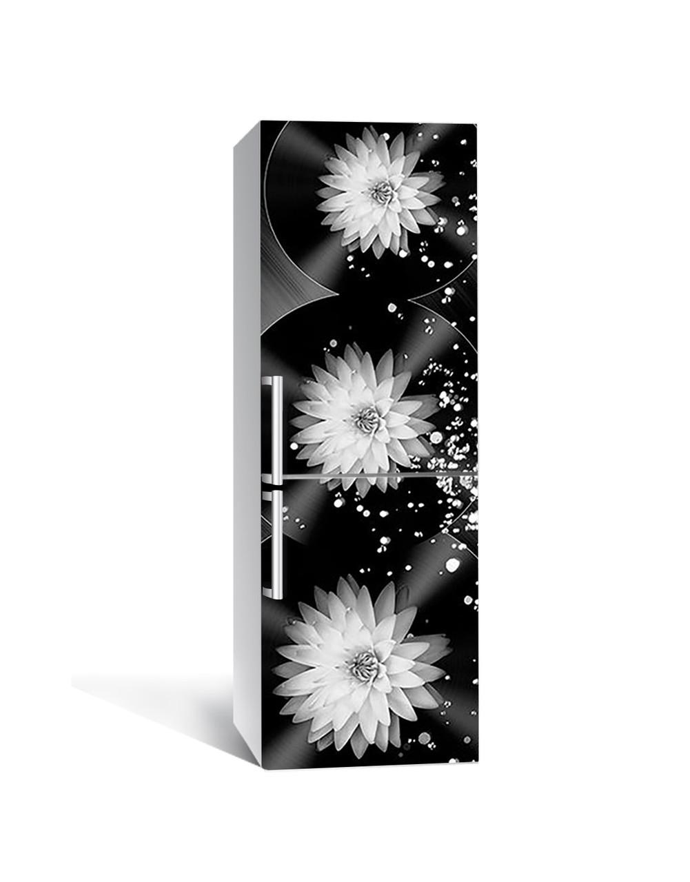 Вінілова 3Д наклейка на холодильник Жоржини Сфери ПВХ плівка самоклеюча квіти Абстракція Чорний 650*2000
