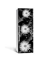 Вінілова 3Д наклейка на холодильник Жоржини Сфери ПВХ плівка самоклеюча квіти Абстракція Чорний 650*2000, фото 1