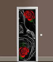 Вінілова 3Д наклейка на двері Чорний шовк і червоні троянди ПВХ плівка квіти Текстура 650*2000 мм, фото 1
