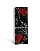 Виниловая 3Д наклейка на холодильник Черный шелк и красные розы (ПВХ пленка самоклеющаяся) цветы Текстура 650*2000 мм, фото 1