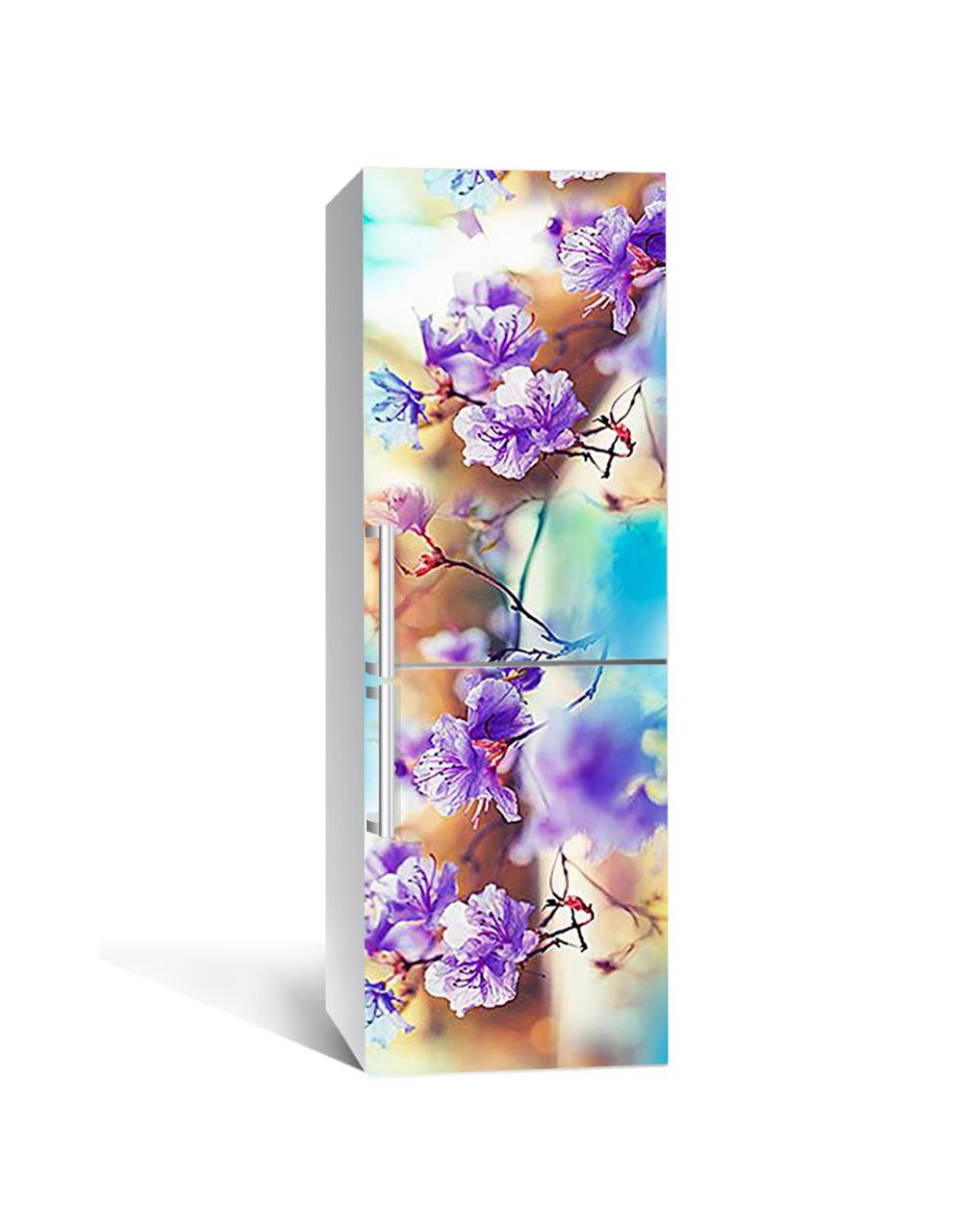 Виниловая 3Д наклейка на холодильник Пышные цветы на ветке (ПВХ пленка самоклеющаяся) Фиолетовый 650*2000 мм