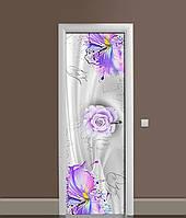 Виниловая 3Д наклейка на дверь Цветы красками ПВХ пленка Абстракция Фиолетовый 650*2000 мм, фото 1