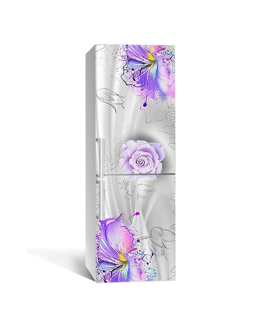 Виниловая 3Д наклейка на холодильник Цветы красками ПВХ пленка самоклеющаяся Абстракция Фиолетовый 650*2000 мм