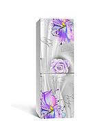 Виниловая 3Д наклейка на холодильник Цветы красками ПВХ пленка самоклеющаяся Абстракция Фиолетовый 650*2000 мм, фото 1
