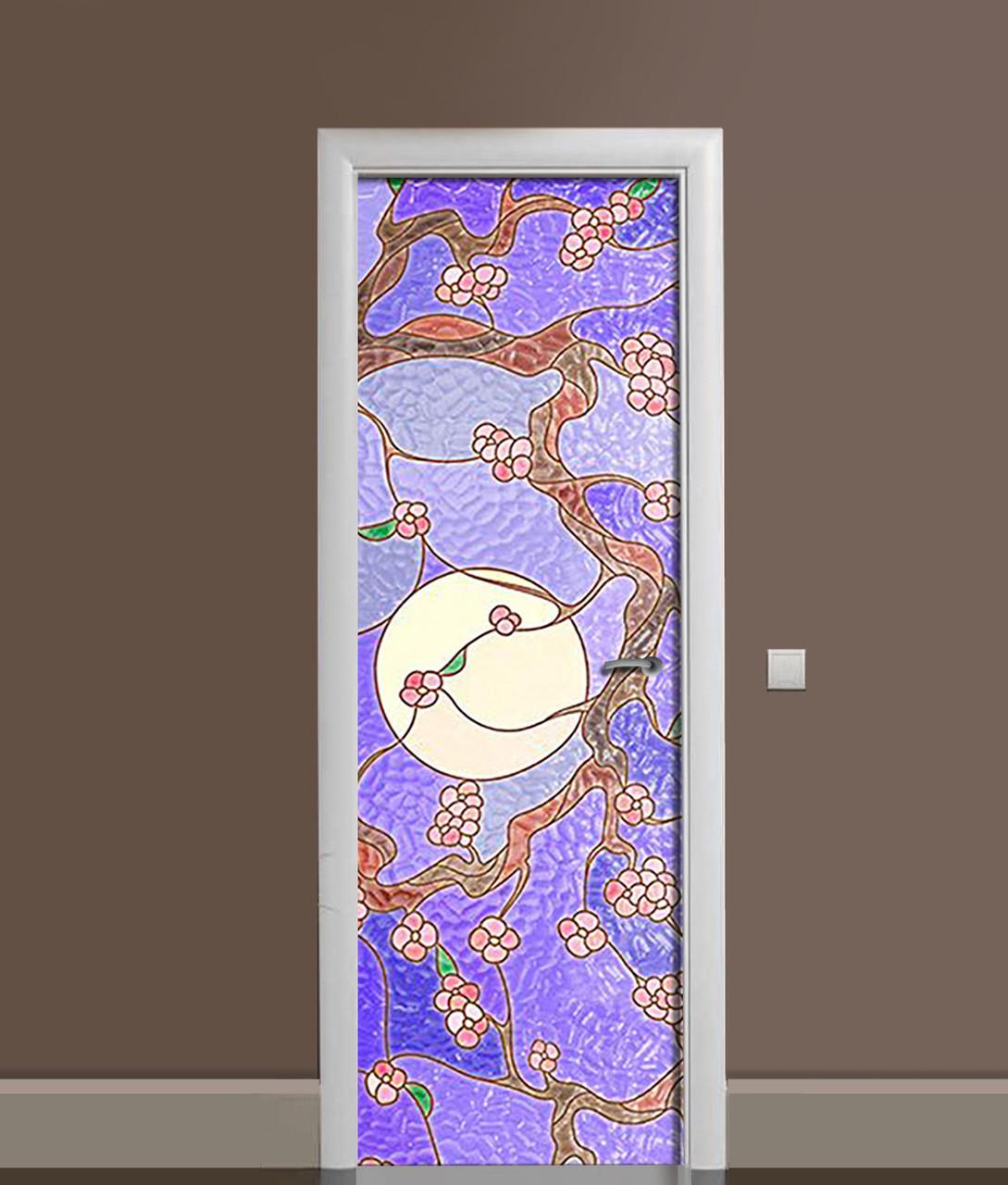 Вінілова 3Д наклейка на двері гранований скло ПВХ плівка Схід Текстура Фіолетовий 650*2000 мм