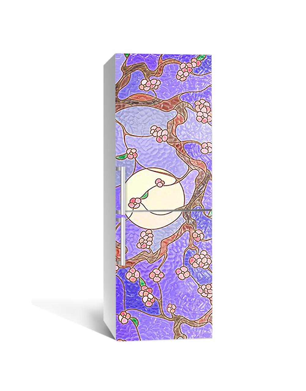Виниловая 3Д наклейка на холодильник Граненое стекло (ПВХ пленка самоклеющаяся) Восток Текстуры Фиолетовый 650*2000 мм