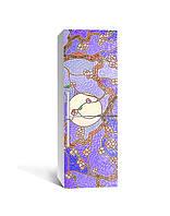Виниловая 3Д наклейка на холодильник Граненое стекло (ПВХ пленка самоклеющаяся) Восток Текстуры Фиолетовый 650*2000 мм, фото 1