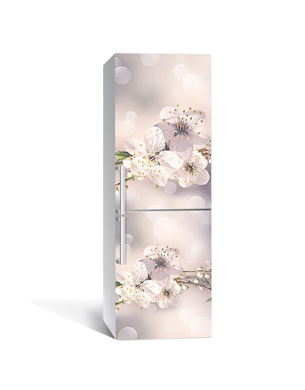 Виниловая 3Д наклейка на холодильник Макро Цветы вишни (ПВХ пленка самоклеющаяся) тычинки Бежевый 650*2000 мм