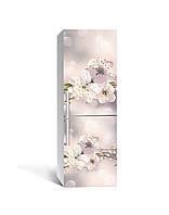 Виниловая 3Д наклейка на холодильник Макро Цветы вишни (ПВХ пленка самоклеющаяся) тычинки Бежевый 650*2000 мм, фото 1