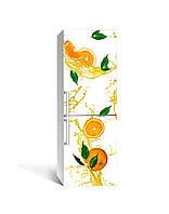 Виниловая 3Д наклейка на холодильник Апельсиновый сок (ПВХ пленка самоклеющаяся) цитрусы Фрукты Оранжевый 650*2000 мм, фото 1