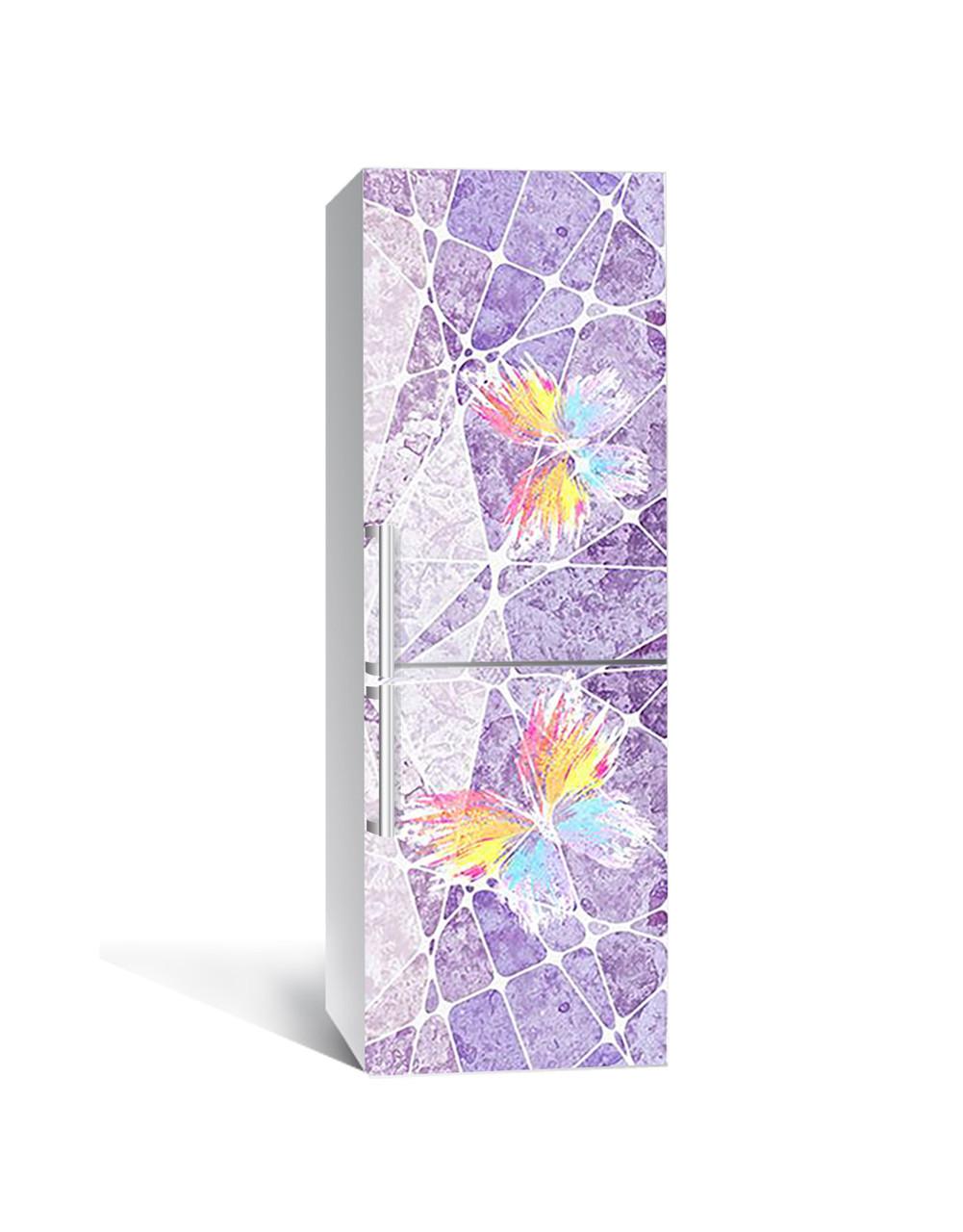 Виниловая 3Д наклейка на холодильник Красочные Бабочки (ПВХ пленка самоклеющаяся) под штукатурку Текстура Фиолетовый 650*2000 мм