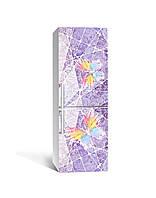 Виниловая 3Д наклейка на холодильник Красочные Бабочки (ПВХ пленка самоклеющаяся) под штукатурку Текстура Фиолетовый 650*2000 мм, фото 1