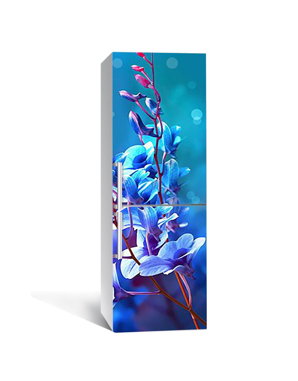 Виниловая 3Д наклейка на холодильник Синие блики (ПВХ пленка самоклеющаяся) орхидеи Цветы 650*2000 мм