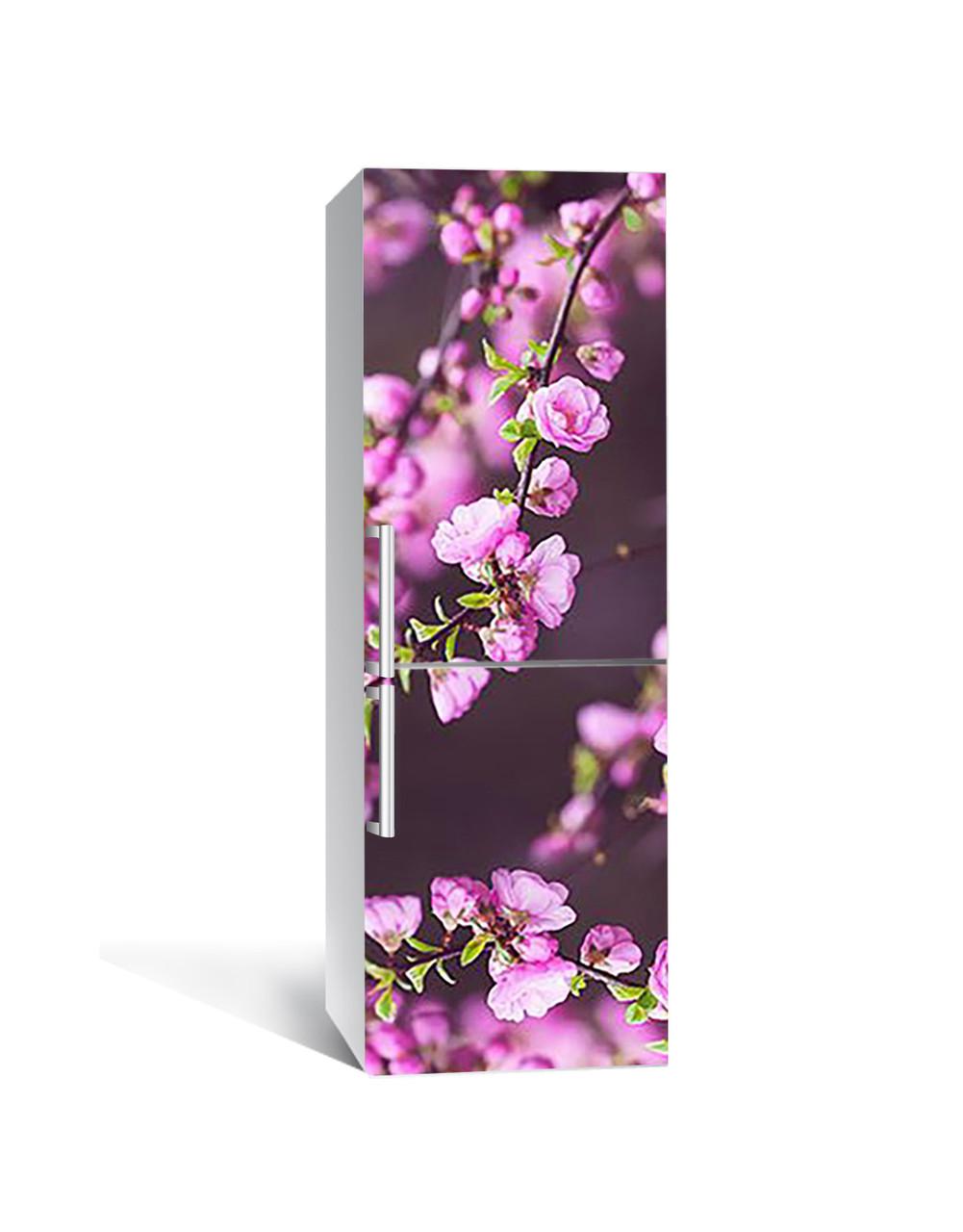 Виниловая 3Д наклейка на холодильник Цветущие ветки 3Д (ПВХ пленка самоклеющаяся) Цветы Розовый 650*2000 мм