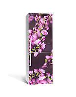 Виниловая 3Д наклейка на холодильник Цветущие ветки 3Д (ПВХ пленка самоклеющаяся) Цветы Розовый 650*2000 мм, фото 1