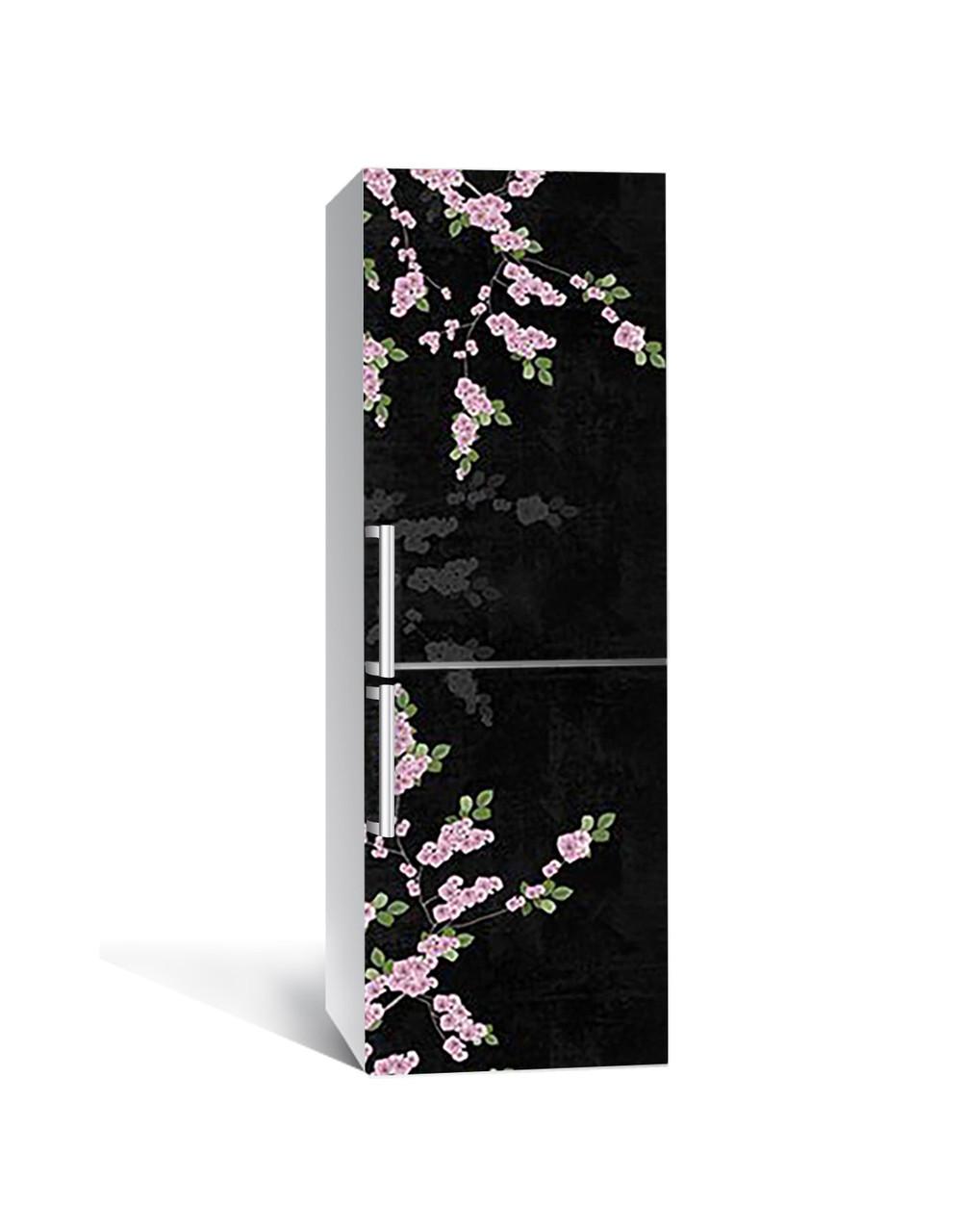 Виниловая 3Д наклейка на холодильник 3Д Сакура (ПВХ пленка самоклеющаяся) ветки Цветы Черный 650*2000 мм