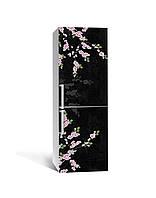 Виниловая 3Д наклейка на холодильник 3Д Сакура (ПВХ пленка самоклеющаяся) ветки Цветы Черный 650*2000 мм, фото 1