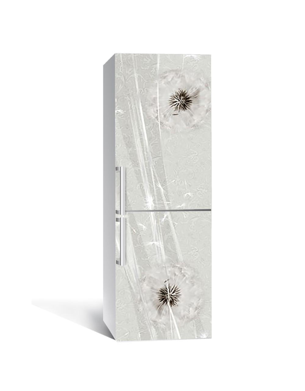 Вінілова 3Д наклейка на холодильник Кульбаба на вітрі ПВХ плівка самоклеюча Текстура Сірий 650*2000 мм