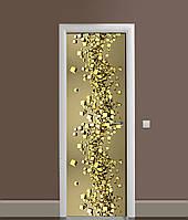 Виниловая 3Д наклейка на дверь Золото 3Д ПВХ пленка кубы абстракция Текстуры Желтый 650*2000 мм, фото 1