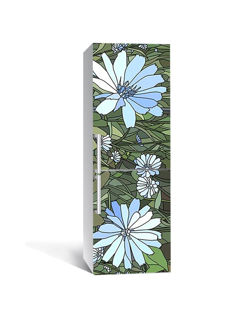 Виниловая 3Д наклейка на холодильник Голубые Цветы витраж (ПВХ пленка самоклеющаяся) трава Зеленый 650*2000 мм