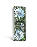 Виниловая 3Д наклейка на холодильник Голубые Цветы витраж (ПВХ пленка самоклеющаяся) трава Зеленый 650*2000 мм, фото 1