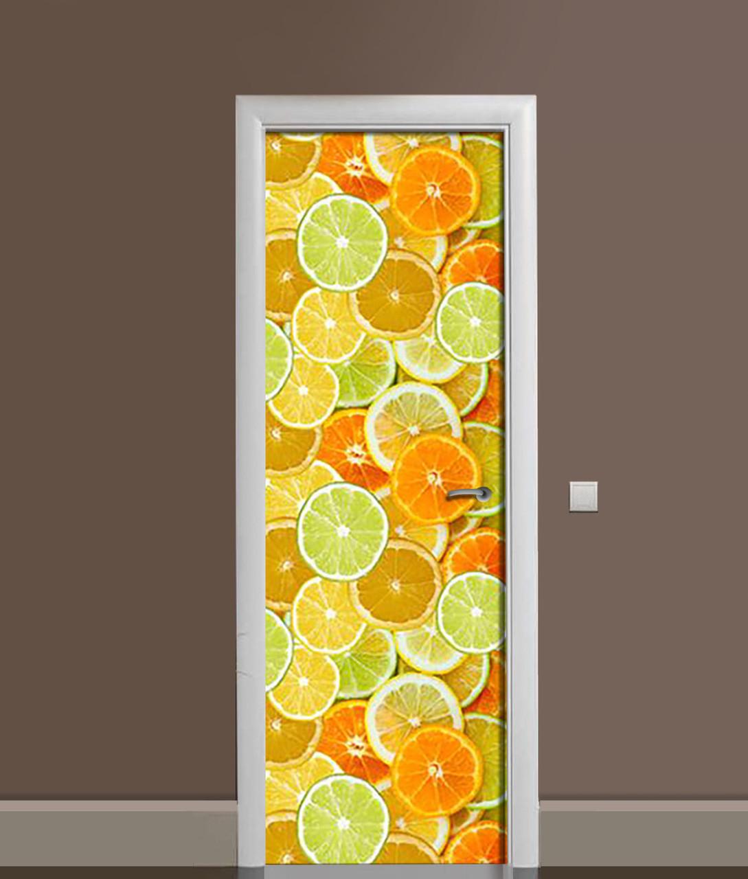 Вінілова 3Д наклейка на двері Яскраві Цитрусові ПВХ апельсини лимони Фрукти Помаранчевий 650*2000 мм