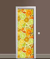 Вінілова 3Д наклейка на двері Яскраві Цитрусові ПВХ апельсини лимони Фрукти Помаранчевий 650*2000 мм, фото 1