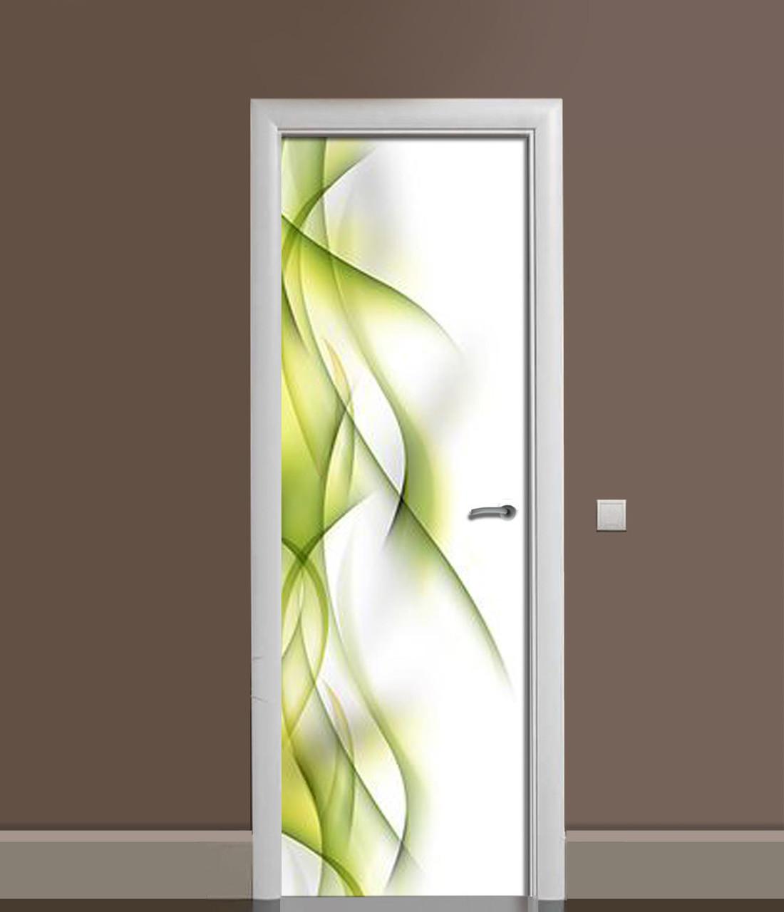 Вінілова 3Д наклейка на двері Зелені Лінії ПВХ плівка Абстракція 650*2000 мм