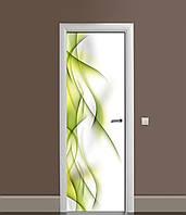 Вінілова 3Д наклейка на двері Зелені Лінії (ПВХ плівка) Абстракція 650*2000 мм