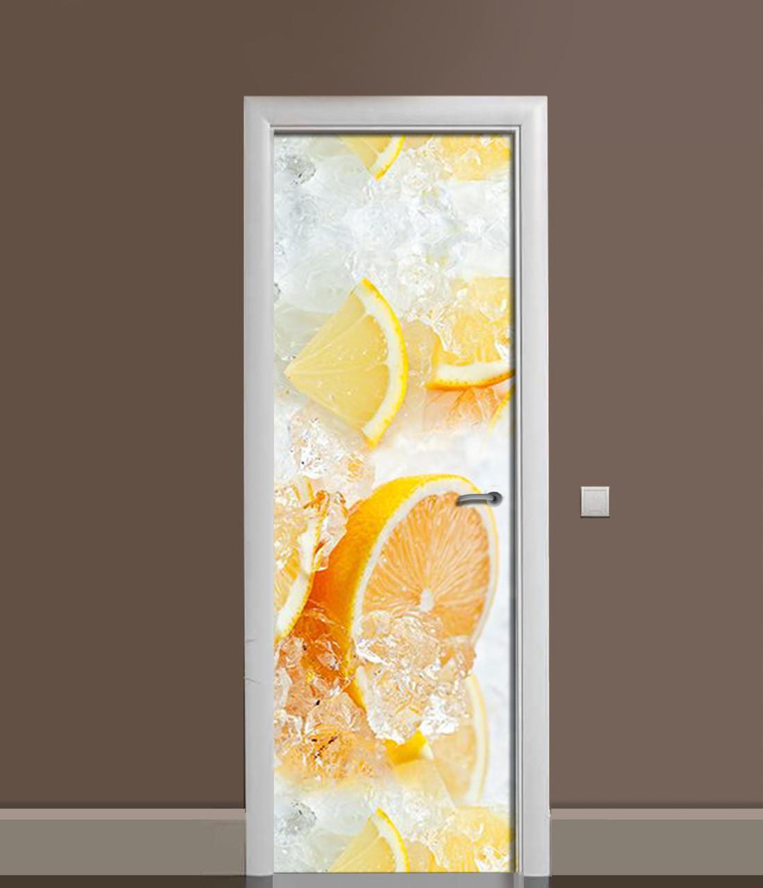 Вінілова 3Д наклейка на двері Апельсини в льоду ПВХ плівка цитруси Фрукти Помаранчевий 650*2000 мм