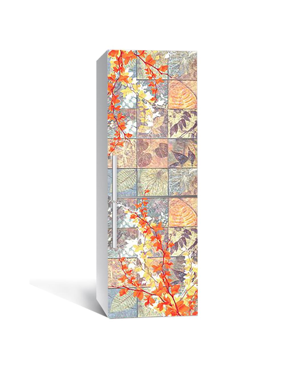 Вінілова 3Д наклейка на холодильник Осінній Орнамент ПВХ плівка самоклеюча під плитку Текстура Бежевий