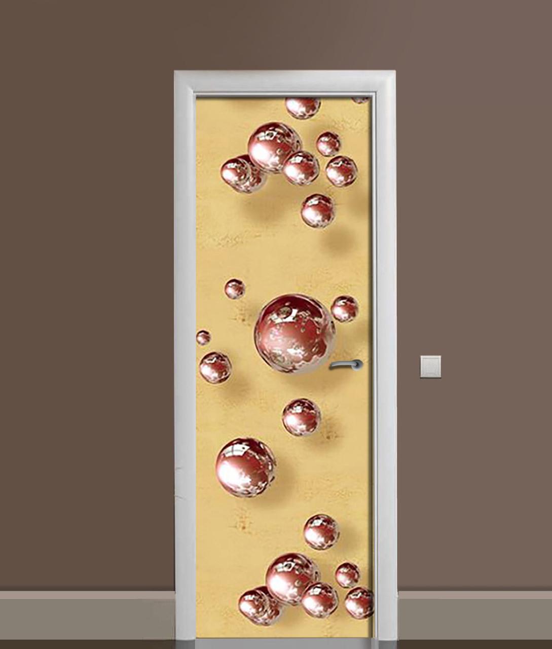 Виниловая 3Д наклейка на дверь Шоколадные сферы ПВХ пленка шары Абстракция Бежевый 650*2000 мм