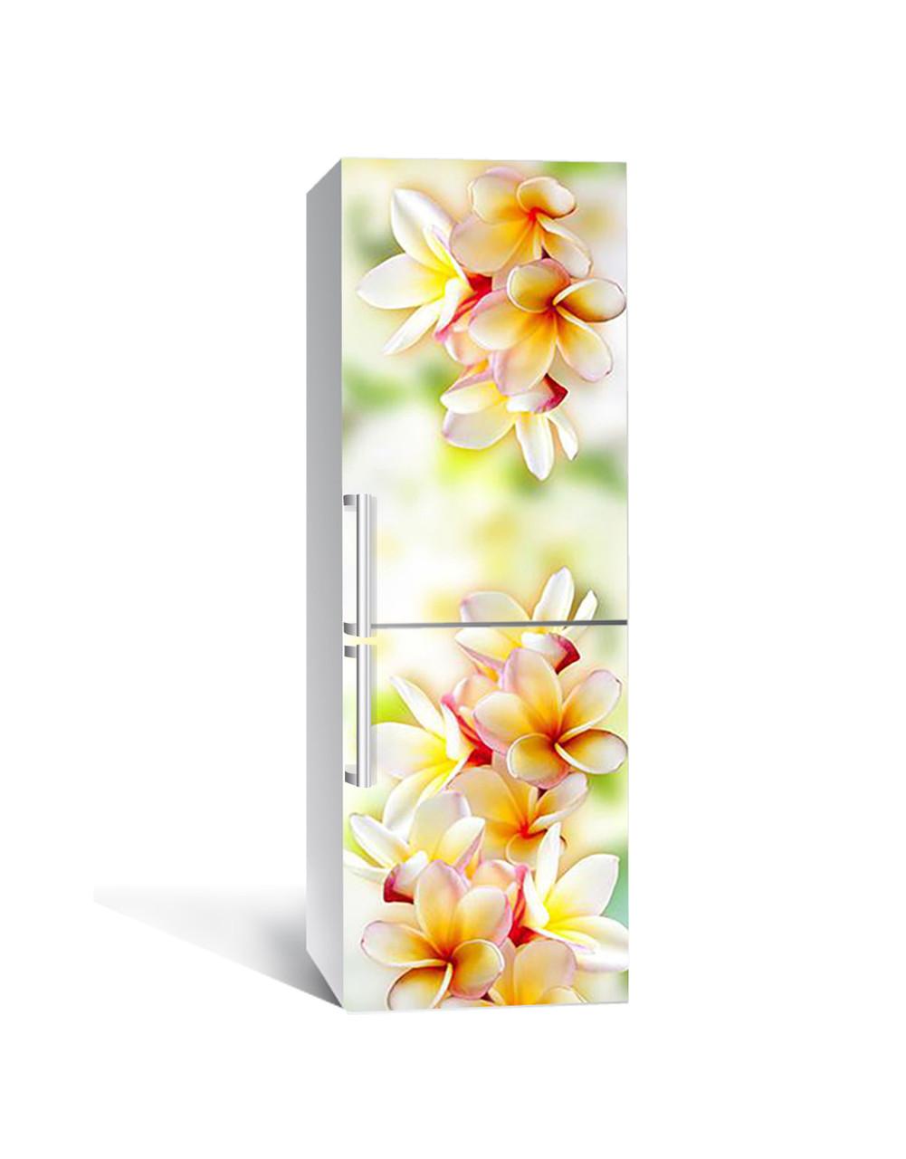 Виниловая 3Д наклейка на холодильник Гавайские Леи (ПВХ пленка самоклеющаяся) Цветы Оранжевый 650*2000 мм