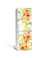 Виниловая 3Д наклейка на холодильник Гавайские Леи (ПВХ пленка самоклеющаяся) Цветы Оранжевый 650*2000 мм, фото 1