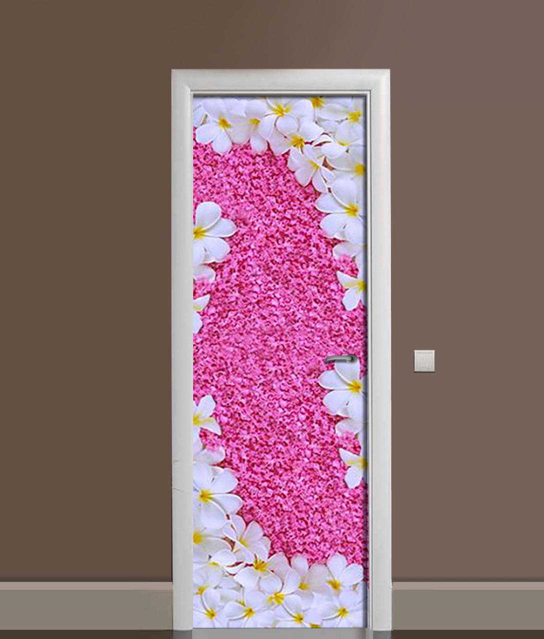 Виниловая 3Д наклейка на дверь Ковер из Цветов (ПВХ пленка) Розовый 650*2000 мм