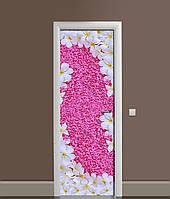Виниловая 3Д наклейка на дверь Ковер из Цветов (ПВХ пленка) Розовый 650*2000 мм, фото 1