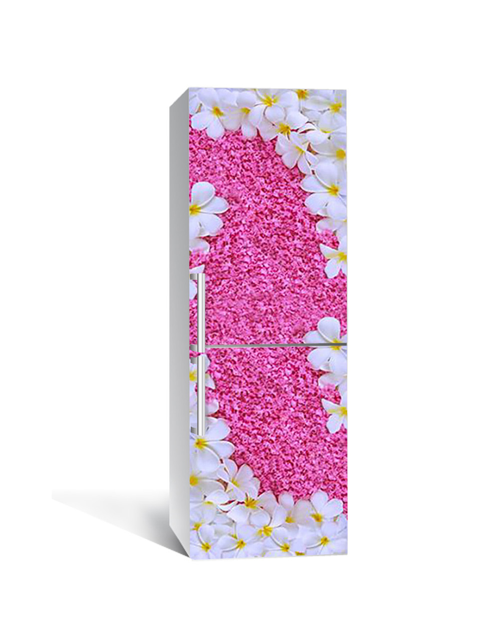 Виниловая 3Д наклейка на холодильник Ковер из Цветов (ПВХ пленка самоклеющаяся) Розовый 650*2000 мм
