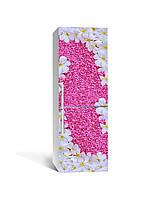 Виниловая 3Д наклейка на холодильник Ковер из Цветов (ПВХ пленка самоклеющаяся) Розовый 650*2000 мм, фото 1