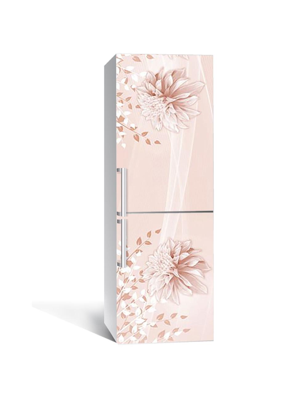 Виниловая 3Д наклейка на холодильник Розовые Георгины ПВХ пленка самоклеющаяся абстракция Цветы 650*2000 мм